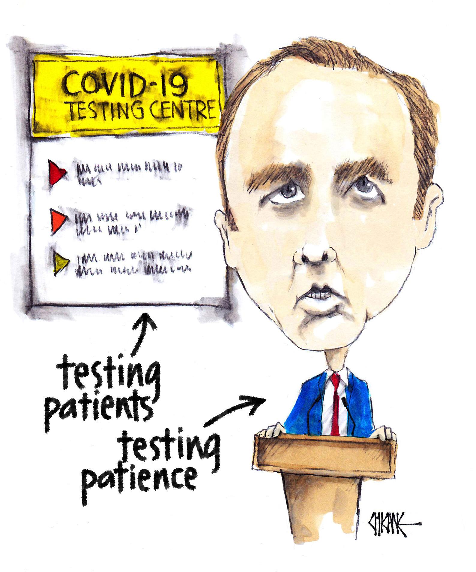 Matt Hancock testing patients and patience cartoon by Chicane