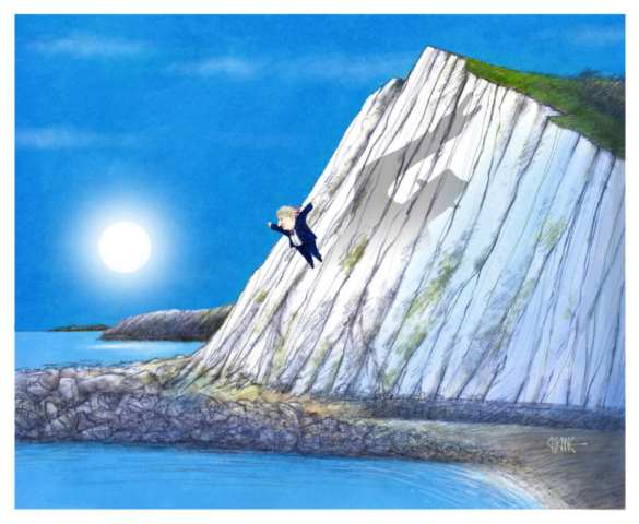 Boris Johnson jumping off a cliff in Dover attempting to emulate Winston Churchill Cartoon by Chicane