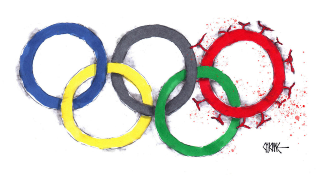 Olympics logo with Covid cartoon by Chicane