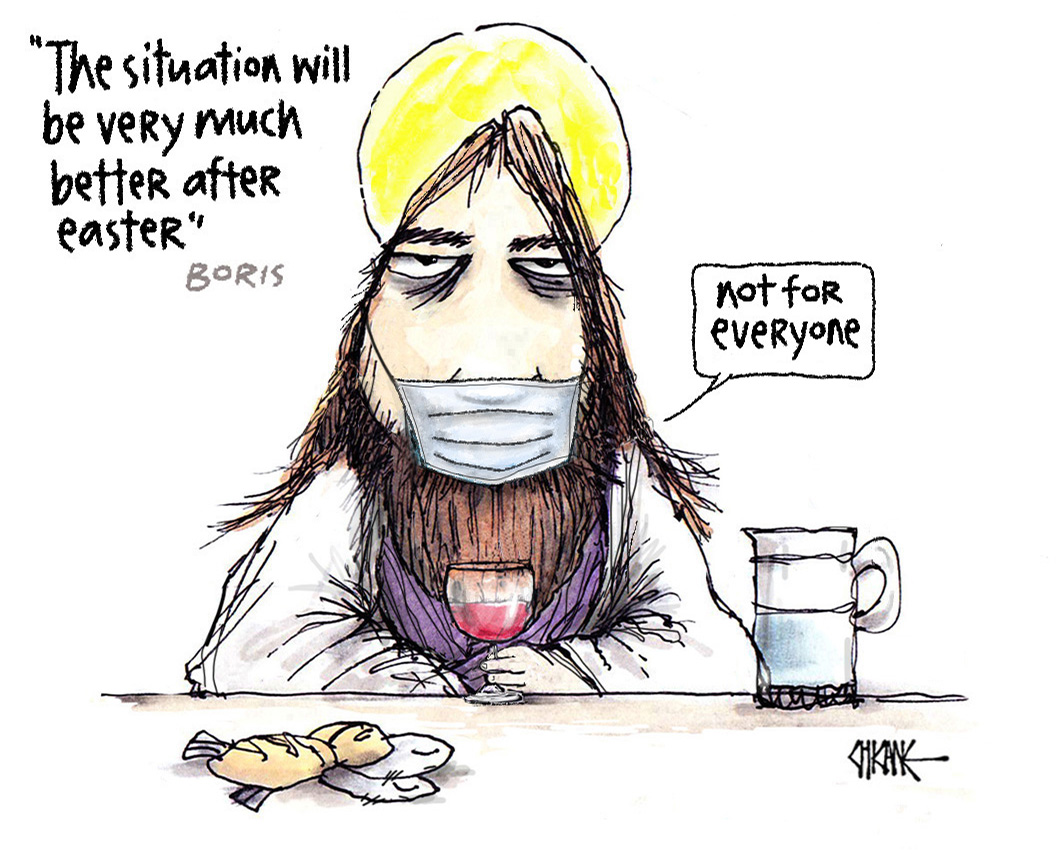 Covid will be better after Easter cartoon with Jesus by Chicane