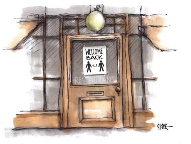 Restrictions lifting in restaurants cartoon by Chicane