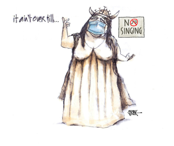 Fat lady sings with mask on cartoon by Chicane