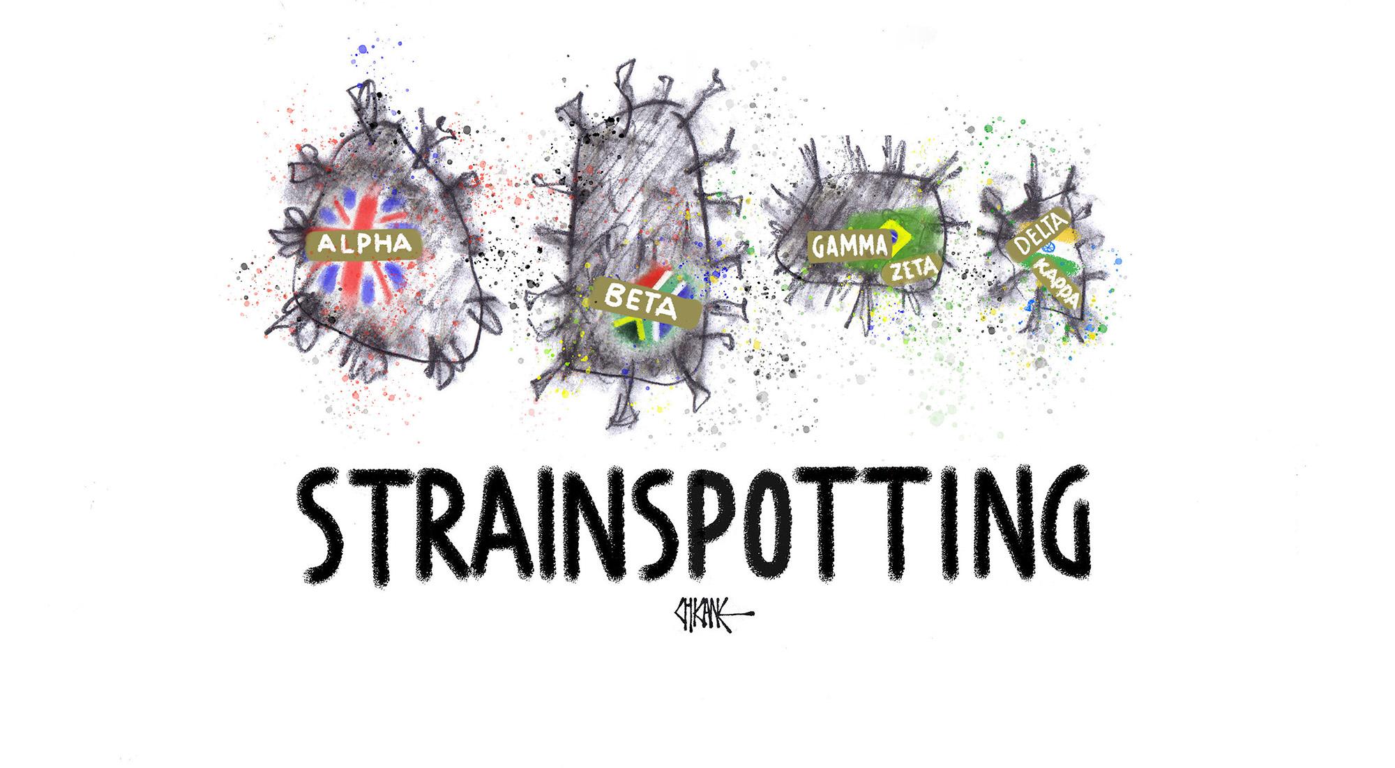 Strainspotting the Greek alphabet variants cartoon by Chicane