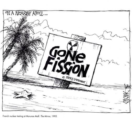 French Nuclear Testing at Mururoa Atoll, cartoon by Chicane