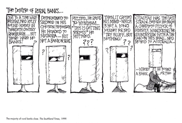 The Demise of rural banks Ned Kelly cartoon by Chicane