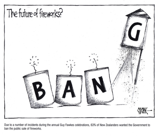 Bang. Fireworks cartoon by Chicane.