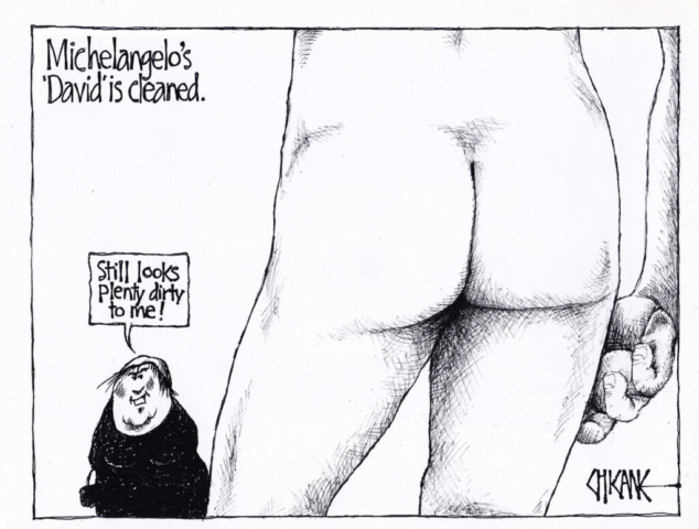 Michelangelo's David is cleaned. Cartoon by Chicane.