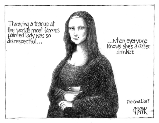 Mona Lisa coffee cartoon by Chicane