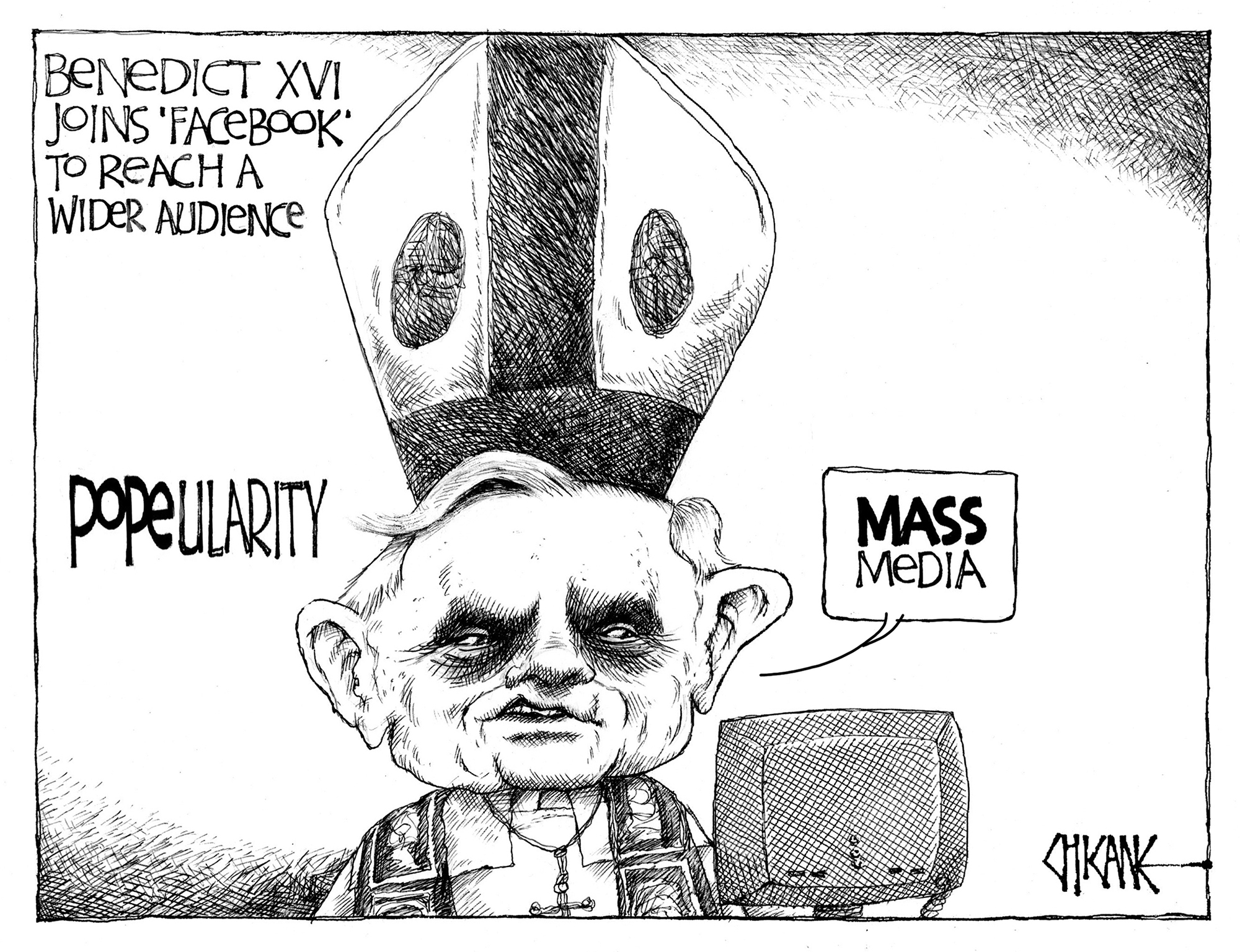 The Pope joins Facebook. Cartoon by Chicane