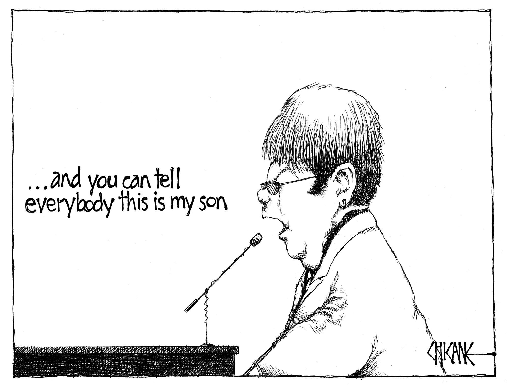 Elton John has a son. Cartoon by Chicane.