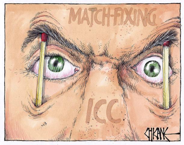 Match fixing by the ICC. Cricket cartoon. Match sticks holding open eye. Cartoon by Chicane.s