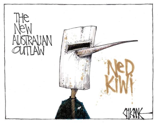 The New Australian Outlaw, Ned Kiwi. Cartoon by Chicane.