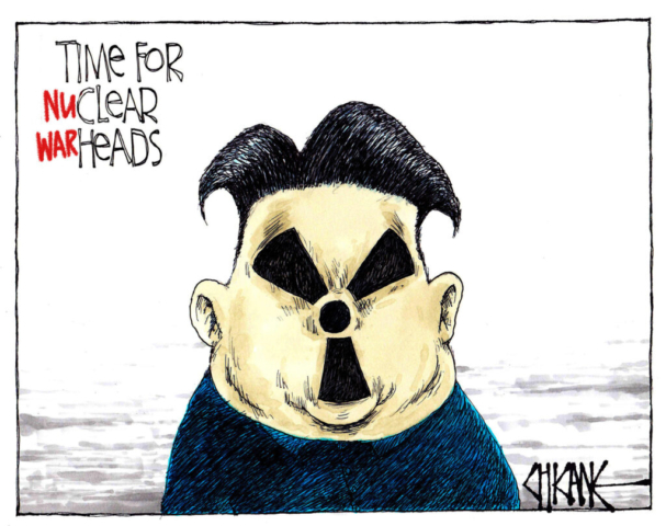 Time for (nu)clear (war)heads Kim Jong-un nuclear caricature. Cartoon by Chicane
