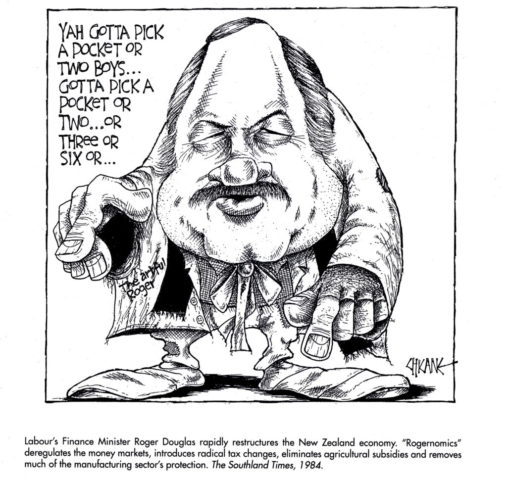 Roger Douglas as the Artful Dodger. Cartoon by Chicane
