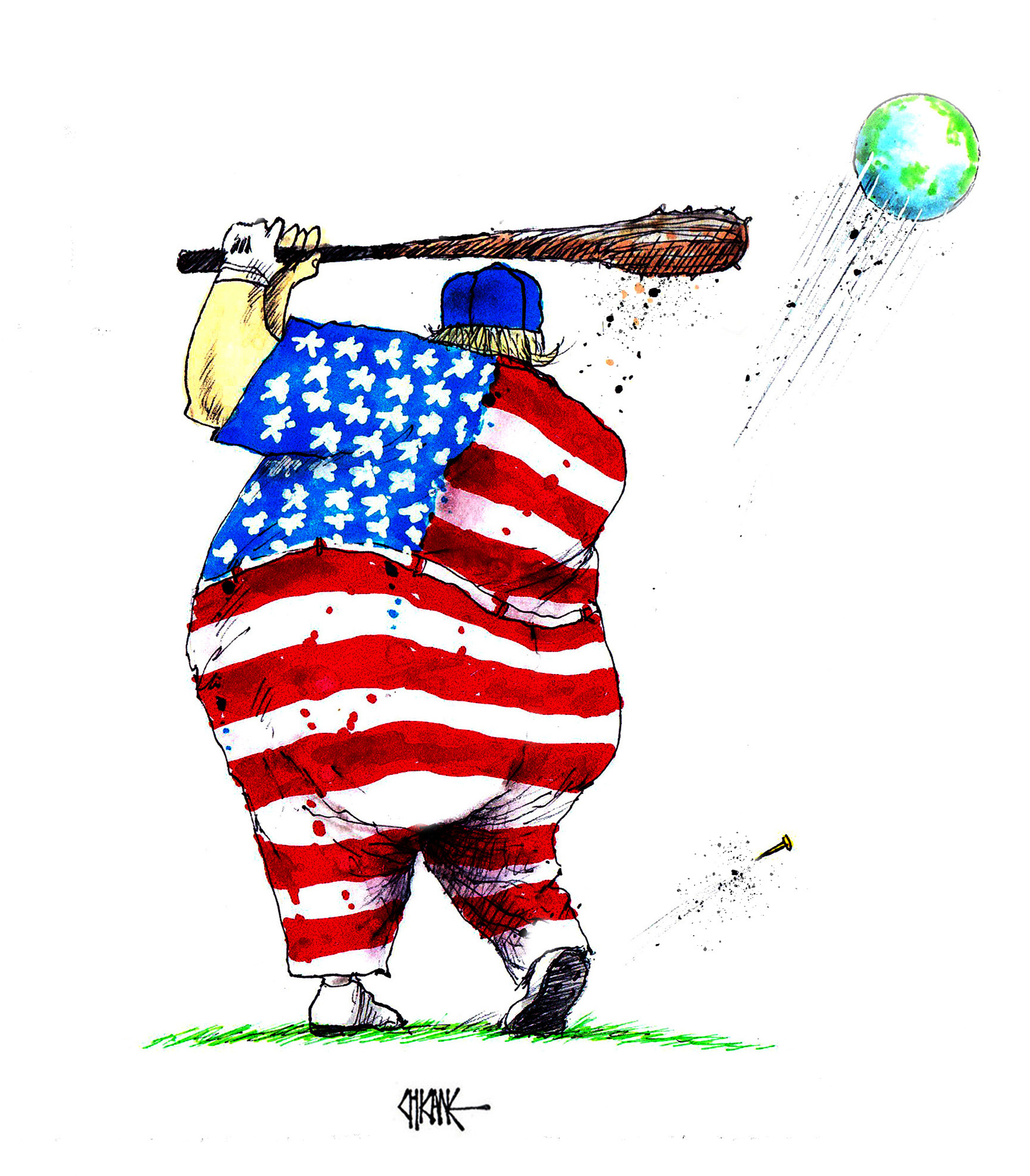 Donald Trump playing golf with a club and the plant earth as a ball. Cartoon by Chicane