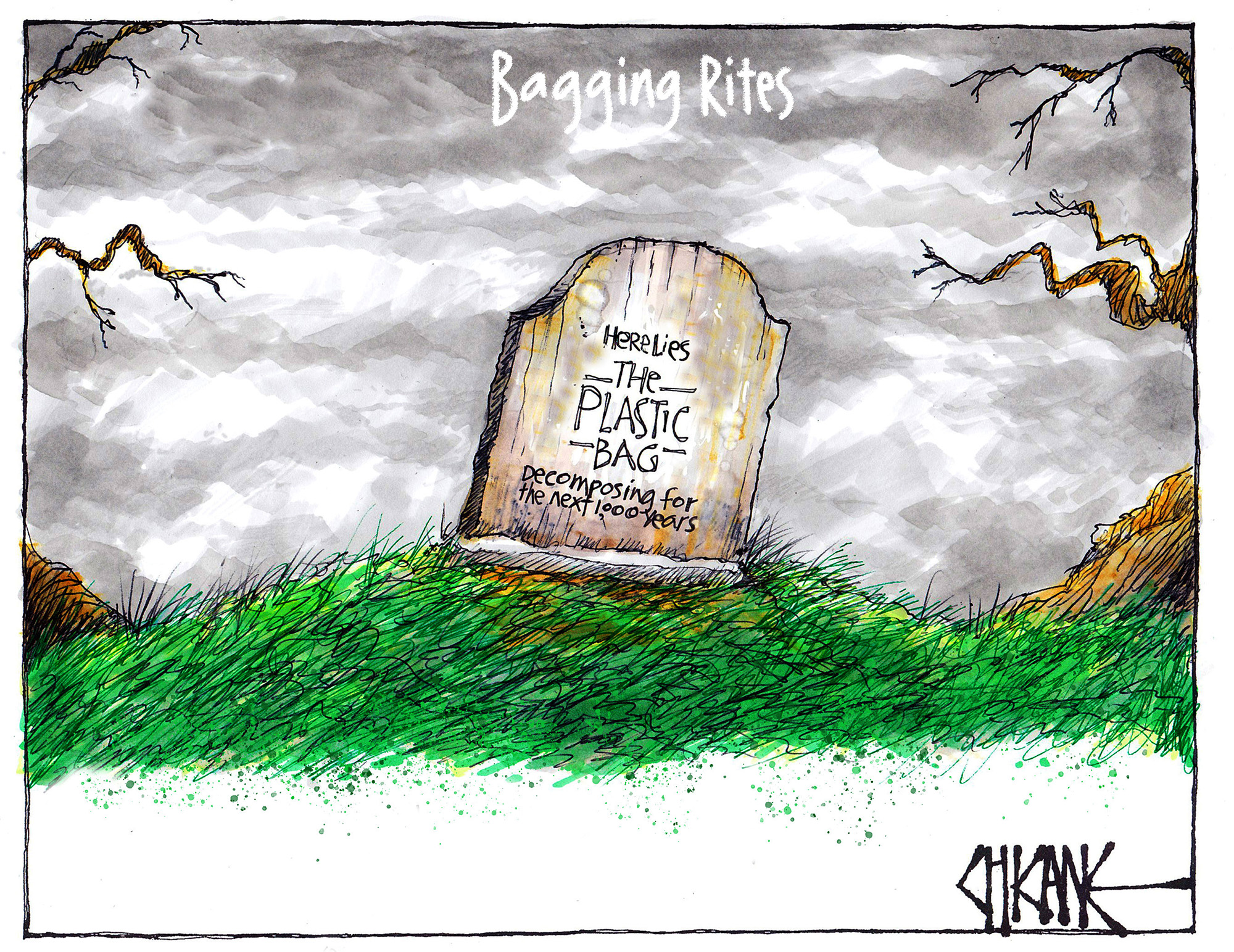 """Bagging Rites. A headstone reads """"Here lies The Plastic Bag, decomposing for the next 1,000 years"""" Cartoon by Chicane"""