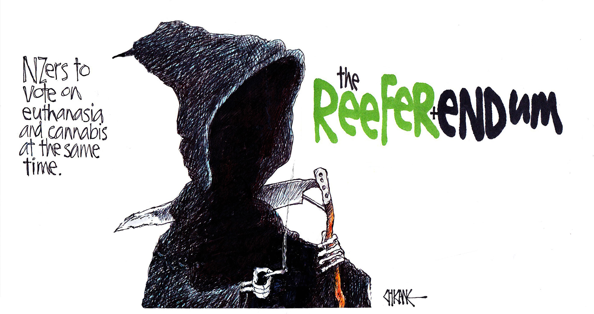 New Zealanders to vote on euthanasia and cannabis at the same time. The Reefer+endum. The Grim Reaper smokes a join. Cartoon by Chicane.
