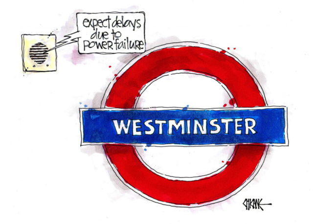 Westminster tube station sign. Expect delays due to power failure. Cartoon by Chicane.