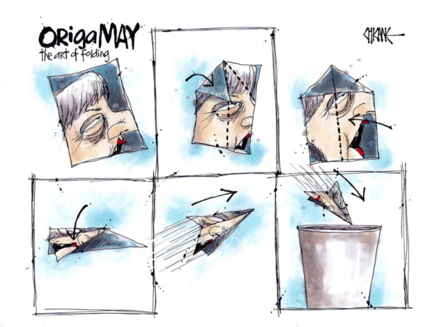 OrigaMAY, the art of folding. A picture of Theresa May is folder into a paper plane and thown into the bin. Cartoon by Chicane