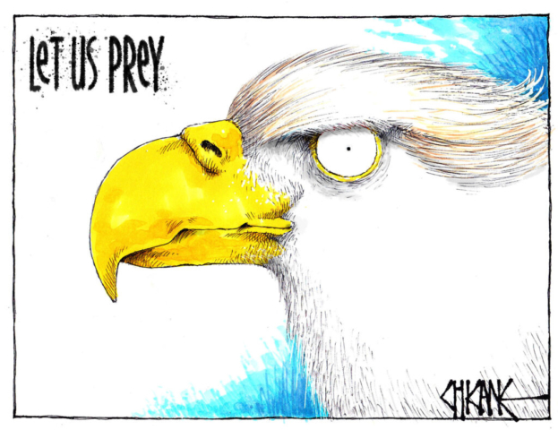 """Donald Trump as an eagle with the text """"Let us Prey"""". Cartoon by Chicane."""