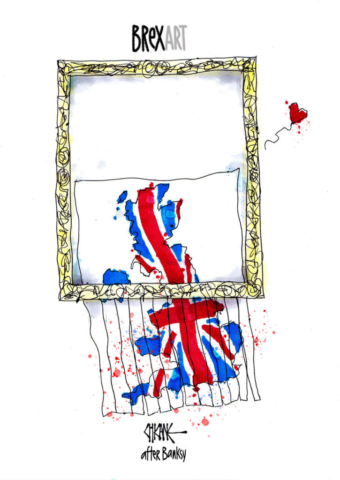 Brexart. A map of the UK is shredded through a frame. Cartoon by Chicane (after Banksy)