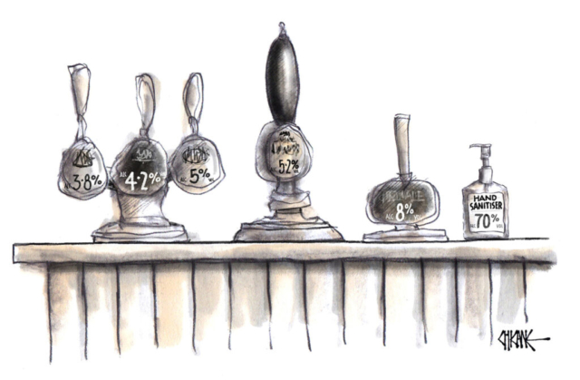 Alcohol on tap including hand sanitiser cartoon by Chicane