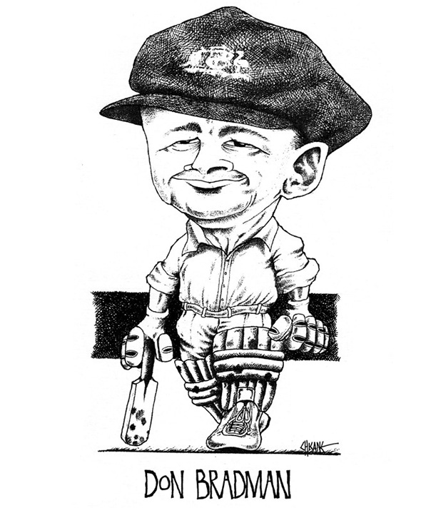 Caricature of Don Bradman by Chicane