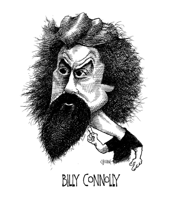 Caricature of Billy Connolly. Caricature by Chicane