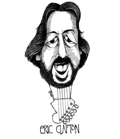 Caricature of Eric Clapton as a guitar. Caricature by Chicane