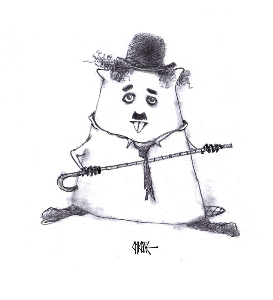 Charlie Chaplin Beaver cartoon with silence theme, cartoon by Chicane