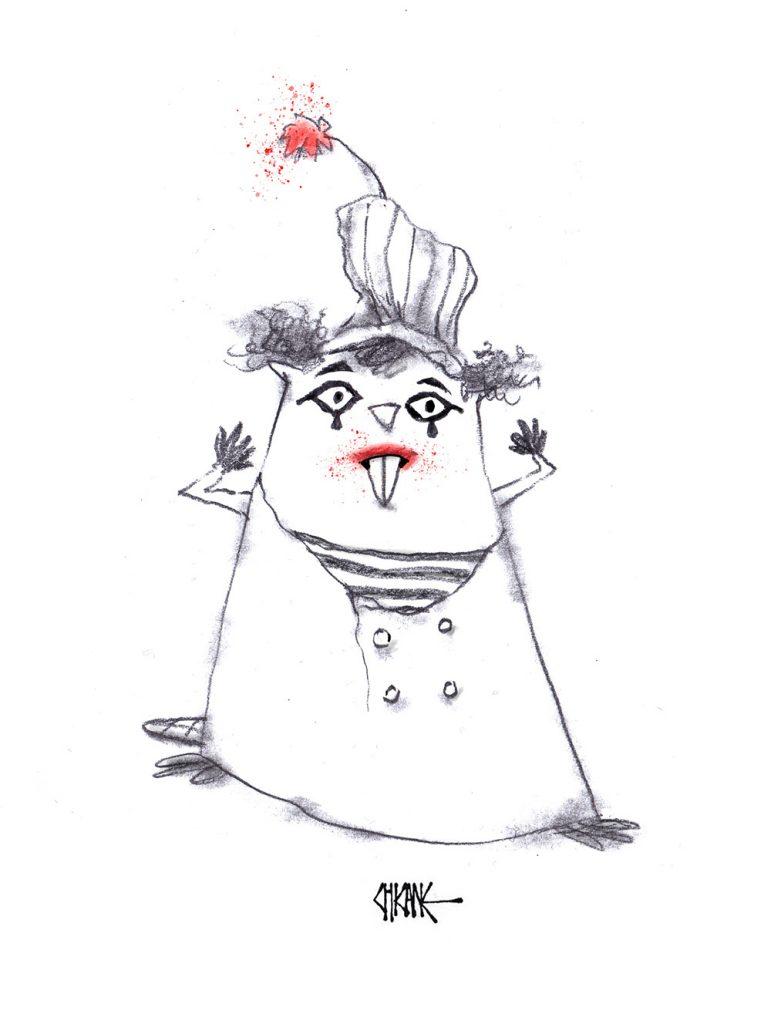 Marcel Marceau Beaver cartoon with silence theme, cartoon by Chicane