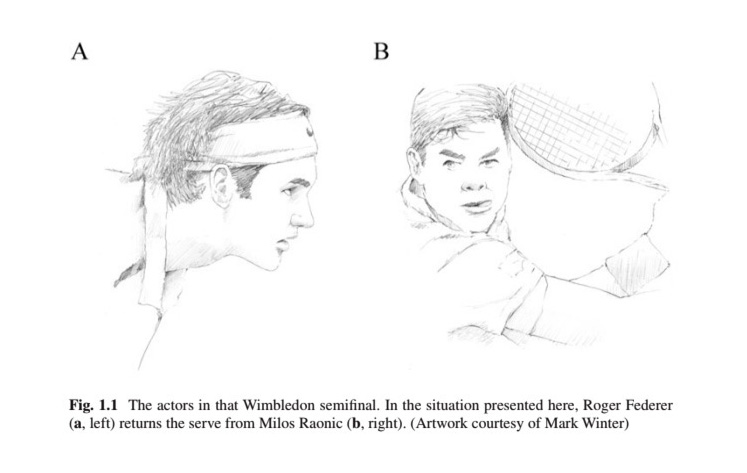 Drawings of Roger Federer and Milos Raonic